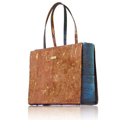 Classy Geschäftstasche von Bag Affair im natur-gold und im grünem Kork, Vorderansicht mit weißem Hintergrund
