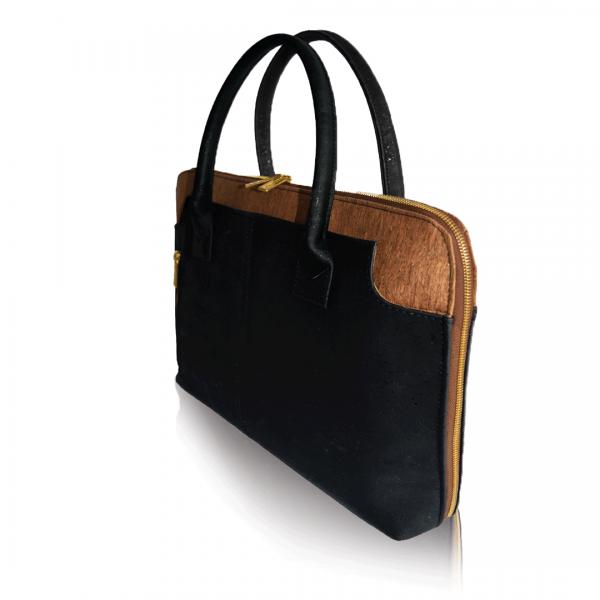 Seitenansicht der schwarz und braunen Korkentasche für Geschäft