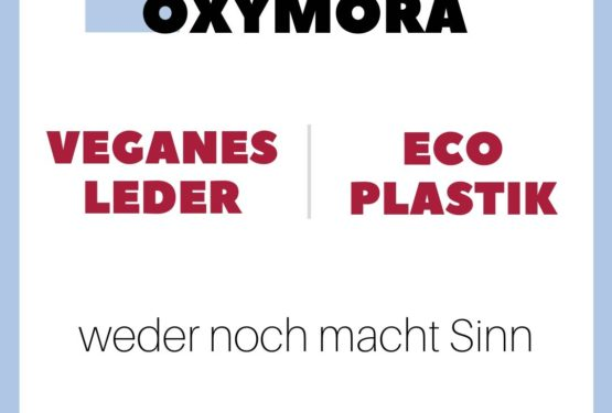 Definition Oxymora veganes Leder und Eco-Plastik in einem Visuell